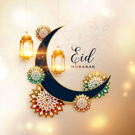 realistic eid mubarak greeting design