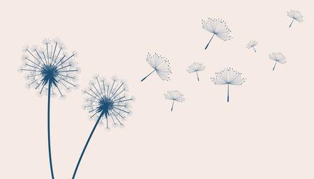 flying dandelion flower seeds make a wish concept background Vektoros illusztráció