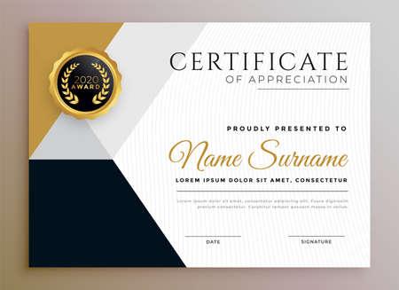 professional certificate of appreciation golden template design