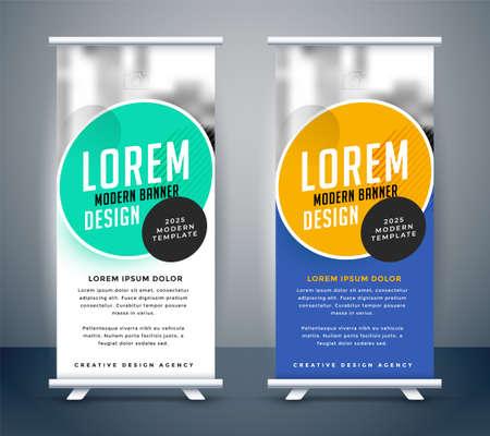 modern roll up standee banner template design Vettoriali