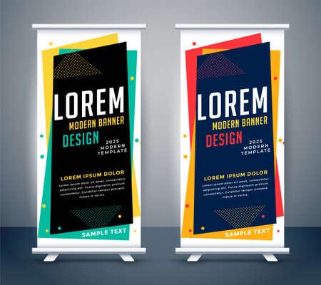 modern roll up standee colors banner template Ilustração Vetorial