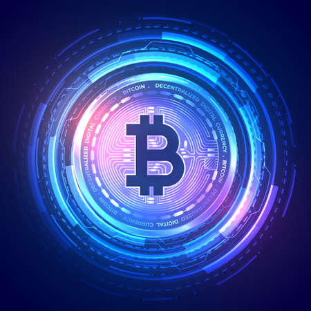 technology bitcoin background with holographic effect Vector Illustration