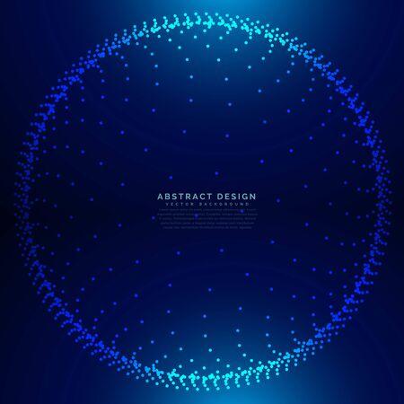3d dots circle mesh in technology style Ilustração Vetorial