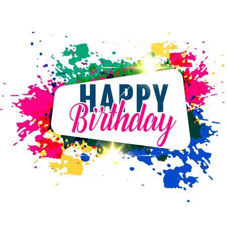 abstract colorful splash happy birthday greeting design