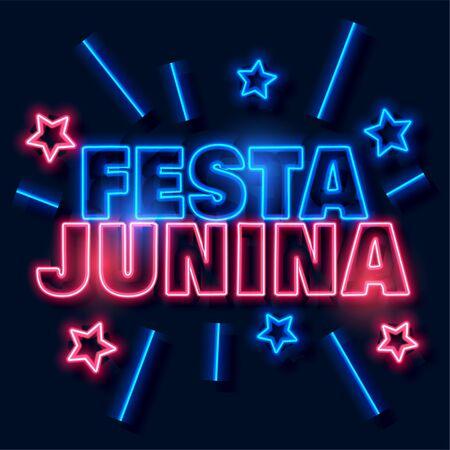 festa junina neon text background