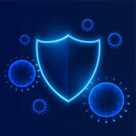 shield protecting coronavirus to enter building immunity Ilustração Vetorial