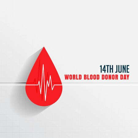 world blood donor day with blood drop and heartbeat Vectores