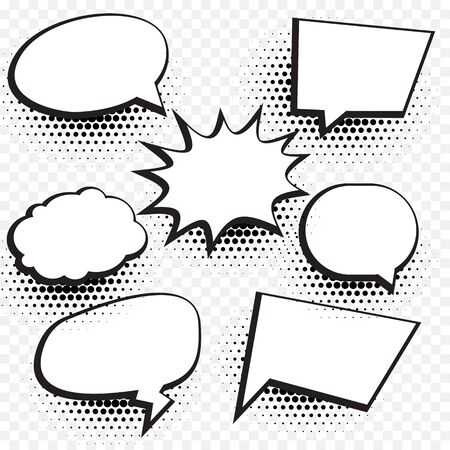 empty comic chat bubble and element background set with halftone effect