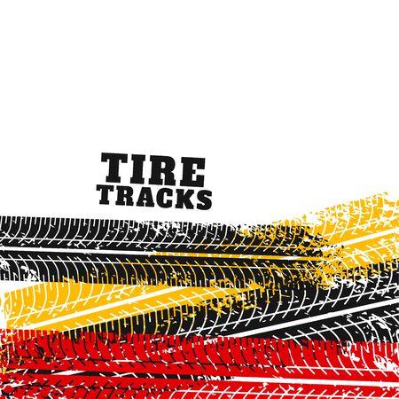 tire track marks backgorund in different colors Illusztráció