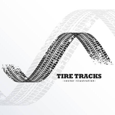 grunge black tire tracks on white background