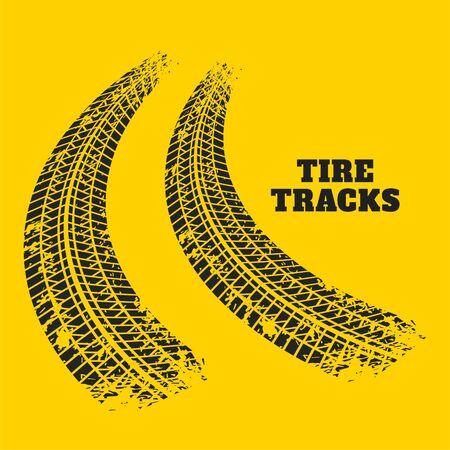 road tire track prints on yellow background Illusztráció