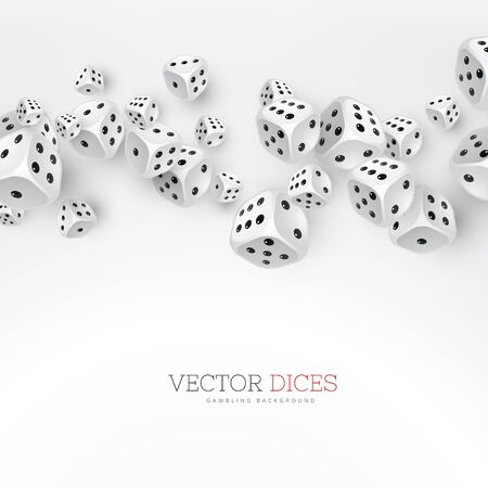 dice floating on white background Ilustração