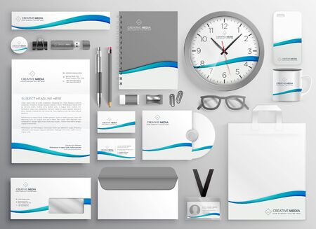modern clean business stationery set design