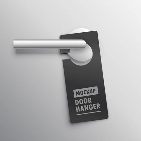 realistic door hander mockup with handle  イラスト・ベクター素材