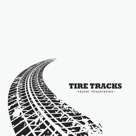 dirty tire tracks fading into the horizon