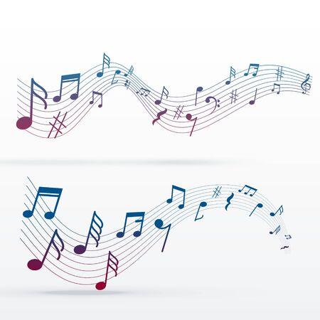 music notes colorful background Ilustración de vector