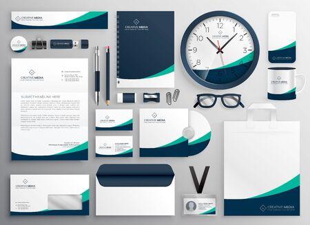 elegant Business Stationery Set in creative style with modern shape design Ilustración de vector