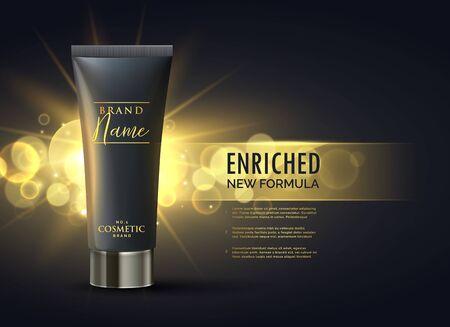concept de design d'emballage de produit cosmétique pour une marque premium sur fond de bokeh or foncé