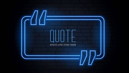 blue quotation frame in neon glowing style Stock Illustratie