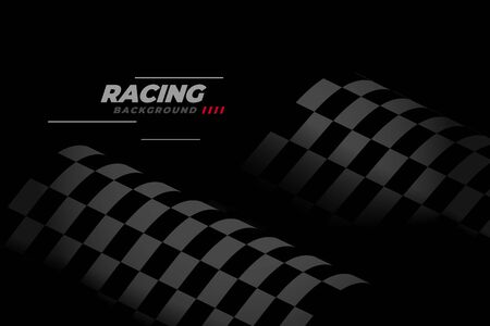 black racing background with checkered flag Vector Illustratie