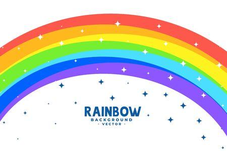 curve rainbow arc with stars background Çizim