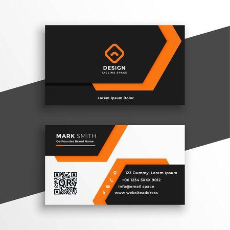 orange and white geometric business card design
