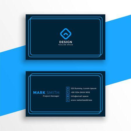 elegant blue business card in line style template Иллюстрация