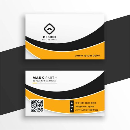 abstract white and yellow wavy business card template