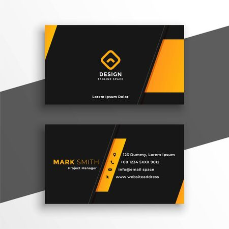 black and yellow modern business card design template