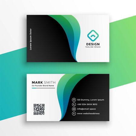 elegant business card design with curve shapes Иллюстрация