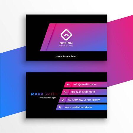 stylish vibrant purple business card template design