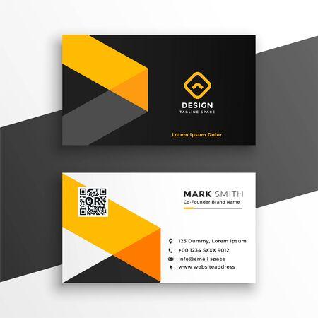 professiona yellow business card modern template design Иллюстрация