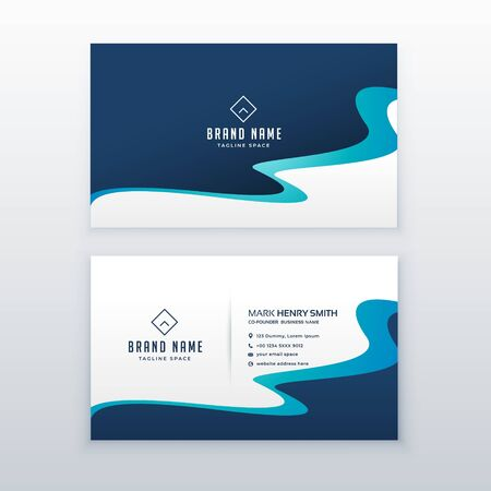 awesome blue wavy business card design for your brand