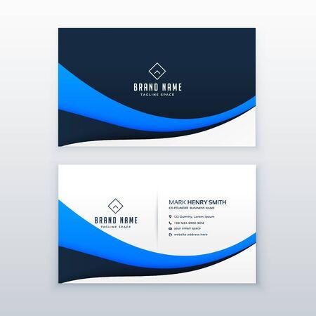 elegant blue wave business card design Vektoros illusztráció