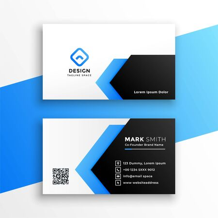 geometric blue business card modern template design Иллюстрация