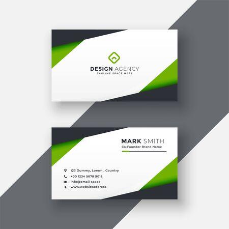 simple green geometric business card design