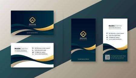 modern elegant golden wave business card