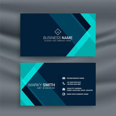 elegant dark blue business card template Vektorové ilustrace