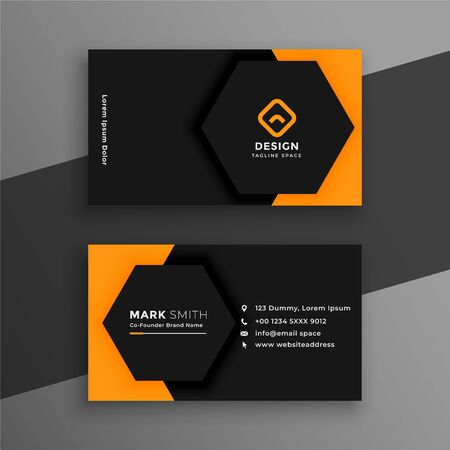 elegant minimal black and yellow business card template