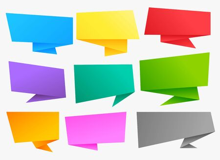 big set of colorful chat bubble origami banners Vector Illustratie