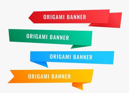 larges bannières en origami dans un style ruban