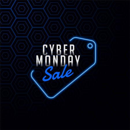 cyber monday sale tag in neon style design