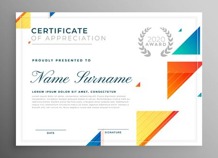 stylish modern certicate of appreciation template design Vektorgrafik