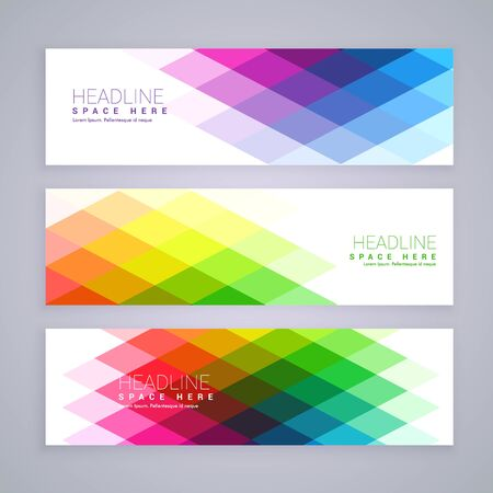 web banners set made with abstract colorful rhombus shapes