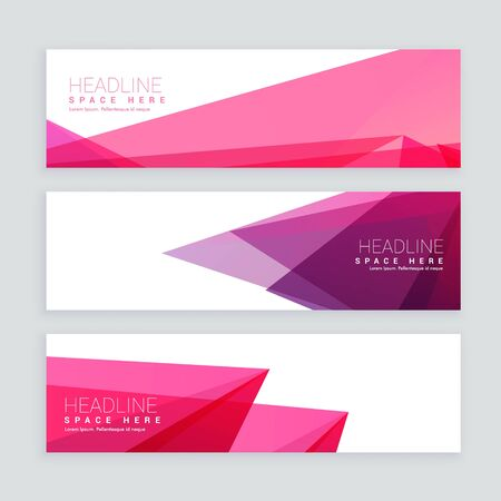 abstract shapes colorful banners set