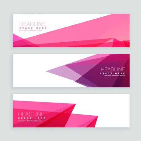 ensemble de bannières colorées de formes abstraites