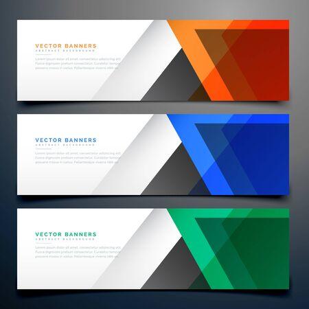 bannières géométriques abstraites en trois couleurs différentes