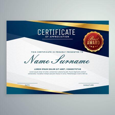 Premium-Mehrzweck-Business-Zertifikat-Vorlagen-Design im modernen geometrischen Stil Vektorgrafik