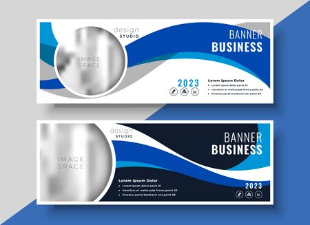 abstract blue wavy business banner design Vetores