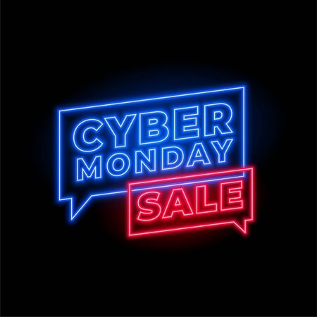 cyber monday sale in neon style background design